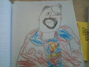 My little one draws all his superheros as me. he drew this one at 4 years old. isnt he talented??